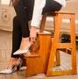 全實木三層樓梯凳 多層收納梯 家用折疊梯椅兩用室內梯子4階爬梯MBS「時尚彩虹屋」