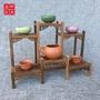 實木多寶格 小型博古架 中式古董架 紅木雞翅木茶具底座