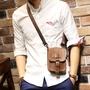 潮流休閒5.5寸手機包胸包男士穿皮帶腰包多功能休閒掛包瘋馬皮時尚新潮休閒風