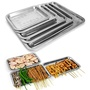 OOTDTY Stainless Steel Rectangular Plate Barbecue Grilled Fish Tray BBQ Food Container