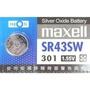 [百威電子] 日本製 maxell 鈕扣電池 SR43SW / 301 (1.55V) 計算機/遙控器/手錶 水銀電池