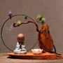 中式創意木頭禪意擺件 陶瓷工藝品家居博古架裝飾小和尚飾品擺設