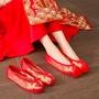 漢趣秀禾鞋中式婚鞋上轎布鞋紅色龍鳳鞋新娘平底女結婚鞋子繡花鞋
