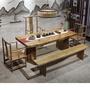 【北意生活】實木餐桌功夫茶幾 原木色大板茶桌椅組合 復古原木新中式泡茶桌