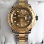 ROLEX 勞力士16623 遊艇名仕間金手錶 黃金金盤香檳色男表