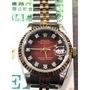 精品 ROLEX/勞力士 69173G 紅色漸層面半金女錶 附完稅證明 9.6新~