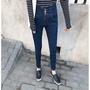 現貨批發價免運 實拍 2018新款韓版時尚後交叉高腰排扣彈力鉛筆褲牛仔褲女