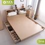 【YUDA】北歐都市風 〈大6抽屜床底+加高收納床頭箱+三抽床頭櫃〉5尺雙人抽屜型床組 床架/房間組