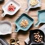陶瓷盤 北歐簡約 方形單柄陶瓷烤盤 創意烘焙焗飯烤盤 把手菜碟 牛排盤【RS887】