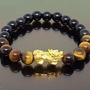 Onyx & Tiger Eye with Pure 999 Gold Pixiu