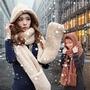 [現貨] 雙層加厚保暖 連帽圍巾手套三合一設計 舒適柔軟羊羔毛絨超可愛帽子圍脖【QZZZ7192】