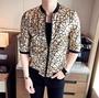 FINDSENSE品牌 男 時尚 潮 薄款 金色紋理 七分袖 中袖 防曬衣 拉鏈夾克 外套
