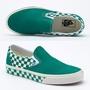 【卡樂猴小舖】必敗【VANS】CHECKERBOARD SLIP-ON 棋盤 懶人鞋/帆布鞋 綠 尺碼26.5 韓國帶回