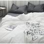 簡約英字愛心刺繡水洗棉床包四件組