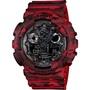 CASIO 卡西歐 G-SHOCK 迷彩雙顯手錶-紅 GA-100CM-4ADR