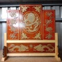 🎉泓展工藝坊🎉-臺灣製屏風 橘紅底色 後貼 屏風 猛龍 四蝠 八寶 雙龍 宴王 接駕