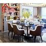 美式后現代輕奢皮藝餐桌椅組合港式簡約別墅樣板房方形一桌六定制