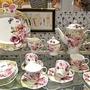 ✨限量22件豪華組✨富貴玫瑰描金邊陶瓷下午茶咖啡茶具組(含精緻禮盒) 歐式宮廷風水果花茶點心盤茶杯調味罐組 【築巢傢飾】