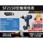 ㊣宇慶㊣高扭力650n.m日本ASAHI SF2150 無碳刷充電起子機/充電電動板手21V 三星厘電