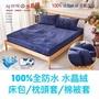【雙人-全防水】水晶絨100%全防水保潔墊床包/枕頭套/被套