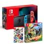 【預購】Nintendo Switch 主機 電光紅藍 (台灣公司貨)+健身環大冒險同捆組+瑪利歐派對中文版