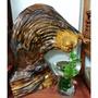 {悅寶房藝術中心}-台灣雕刻名家蔡仙林2006年大作  飛天達摩  台灣黃檜木根板摺花