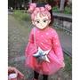 二手女童長袖洋裝、桃紅色蓬蓬裙、附星星背帶(尺碼5號)