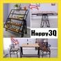 復古LOFT工業風收納櫃花架置物架野餐桌折疊摺疊褶疊桌實木餐桌-三層/五層【AAA0962】