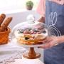 北歐高腳陶瓷蛋糕盤玻璃蓋點心罩水果甜品臺托盤展示架試吃盤帶蓋WY