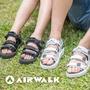 【AIRWALK-快速到貨】魔鬼氈增高二穿式涼鞋-情侶款(黑色)