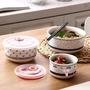 泡面碗 微波爐碗帶蓋泡面碗陶瓷保鮮碗三件套 陶瓷碗家用飯盒套裝便當盒T 5色
