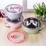 304不鏽鋼保鮮泡麵碗 隔熱碗 不銹鋼碗 泡麵碗帶蓋 帶手柄不銹鋼餐具 雙層泡麵杯湯碗  帶蓋密封PP泡麵碗