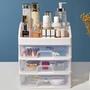 桌面化妝品塑料收納盒 透明文具抽屜櫃首飾整理儲物盒2 3層置物架