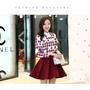 [53100168]小資平價禮服坊(現貨供應)韓款氣質修身顯瘦娃娃領長袖拚色洋裝-黑/紅共二色