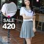 SISI【E7019】日系海軍學院風制服日本水手服短袖上衣+百褶學生短裙套裝