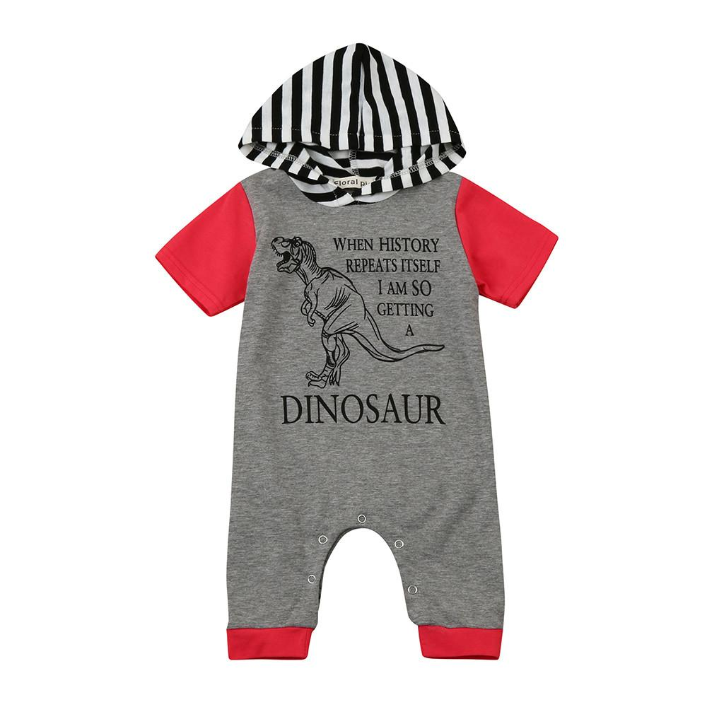 385fa6d75e4d Newborn Baby Boys Girls Letter Amazing Dinosaur Hooded Romper Jumpsuit  Outfits Clothes Short Sleeve Baby Rompers