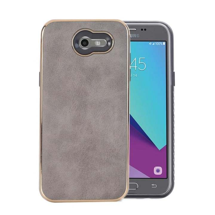 For Samsung Galaxy J3 (2017) US Version Crazy Horse Texture Electroplating Back Cover(