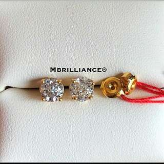 236f5b3b9 L size Solitaire Cz stones earstuds 916 Gold by Mbrilliance