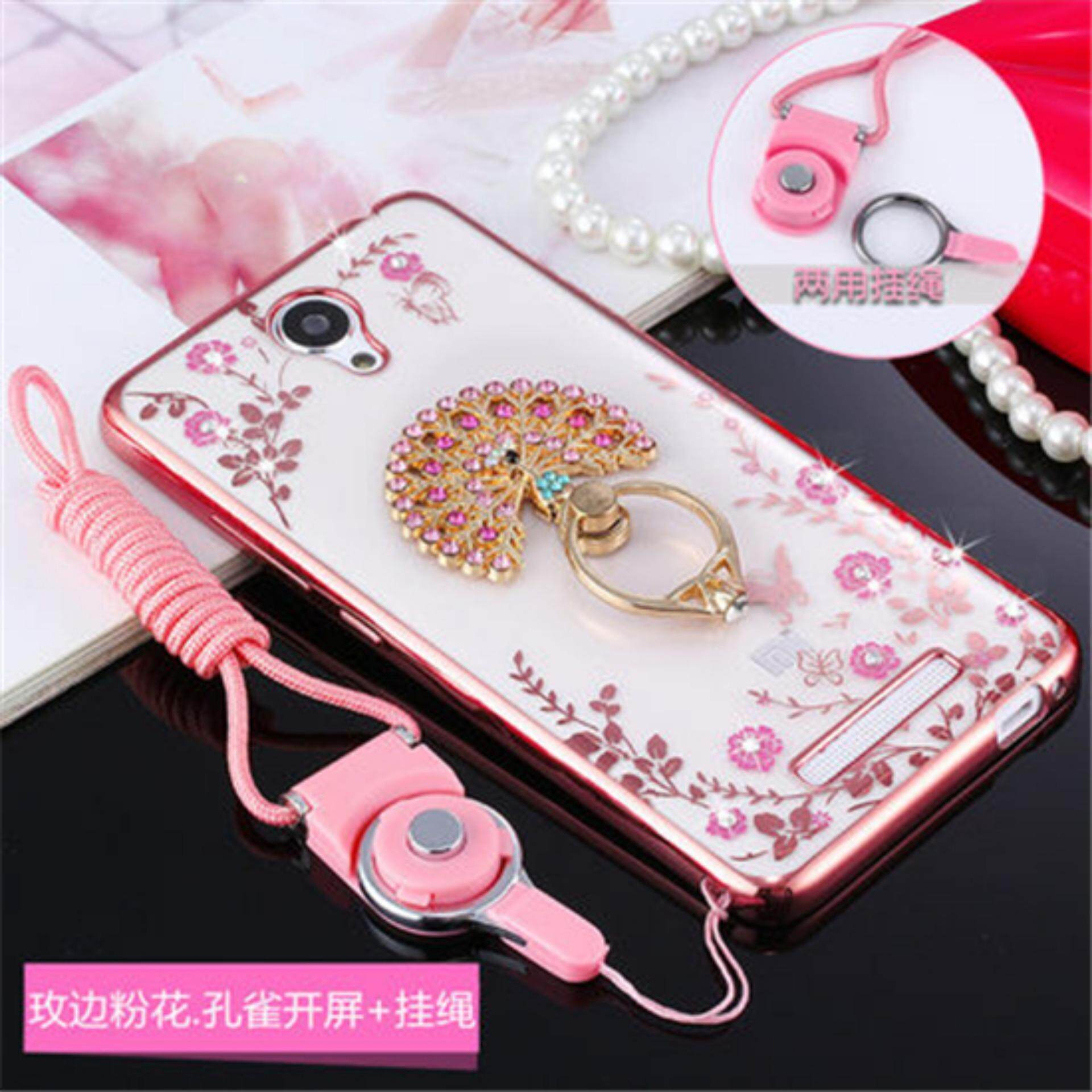 Luxury Rhinestone Phone Case Cover Finger Rotated Ring Holder Stand TPU For Xiaomi Redmi Note2 5.5