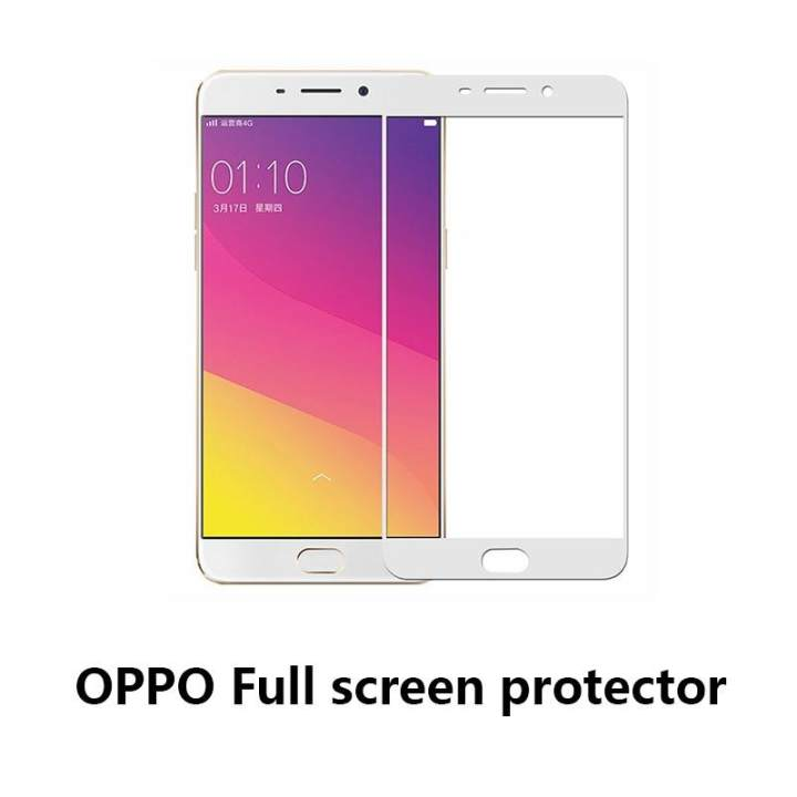Full Cover Mobile Phone Screen Protector Handphone Toughened Film Screen Protectors For OPPO R9 - White
