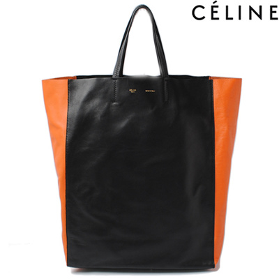 191eda48c40a5 Celine Tote Bag CELINE Cabas BI - CABAS Calf Black   Orange  Second - hand