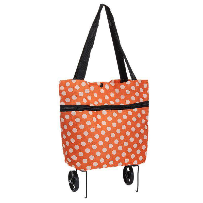 ab012c23e1c0 Large Lightweight Trolley Wheel Wheeled Folding Shopping Luggage Bag Cart  Orange Dots