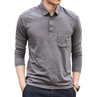 e015f223 Men's Cotton Washed POLO Shirt Fashion Lapel Loose Long Sleeved T-shirt