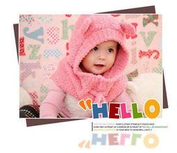 韓國可愛熊連帽圍脖帽子/寶寶帽子/脖圍/連帽圍巾/抽繩圍巾
