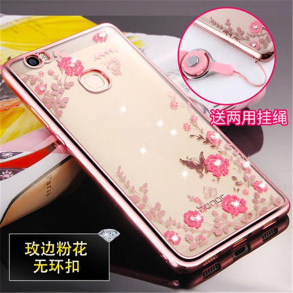 Luxury Rhinestone Phone Case Cover Finger Rotated Ring Holder Stand TPU For Huawei Honor note8 edi