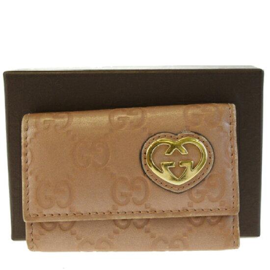 d0f9b91fb 有古馳GUCCI 6連鑰匙包GG花紋心粉紅皮革保存箱子的03HB511