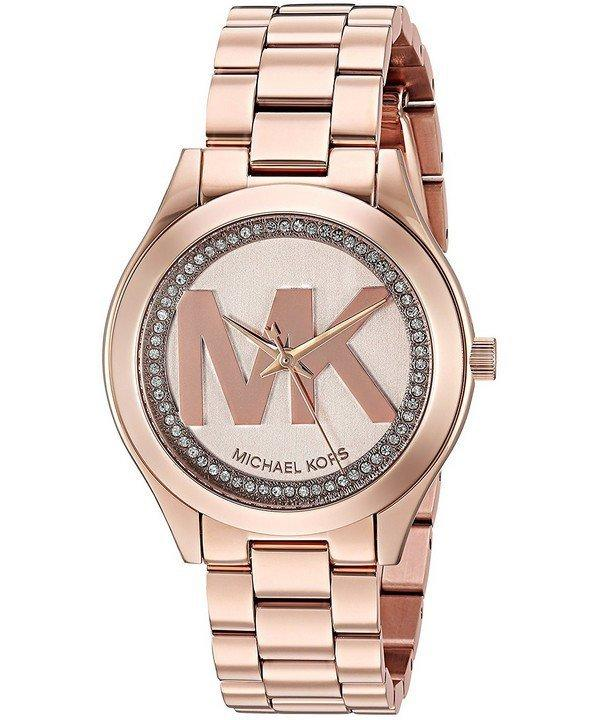 d10595709ad1 Michael Kors Mini Slim Runway Crystal 33mm Ladies Watch MK3549