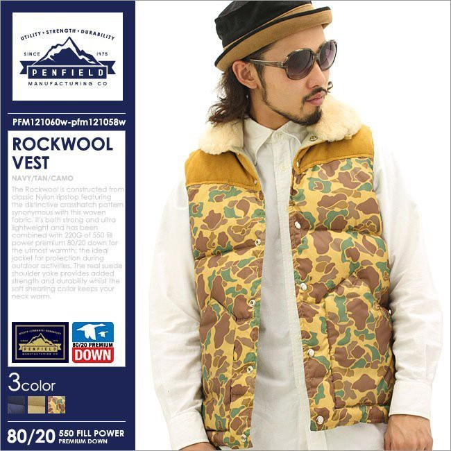 9b4d800f383f Penfield Rockwool Vest 拼布麂皮革迷彩羽絨背心全新M