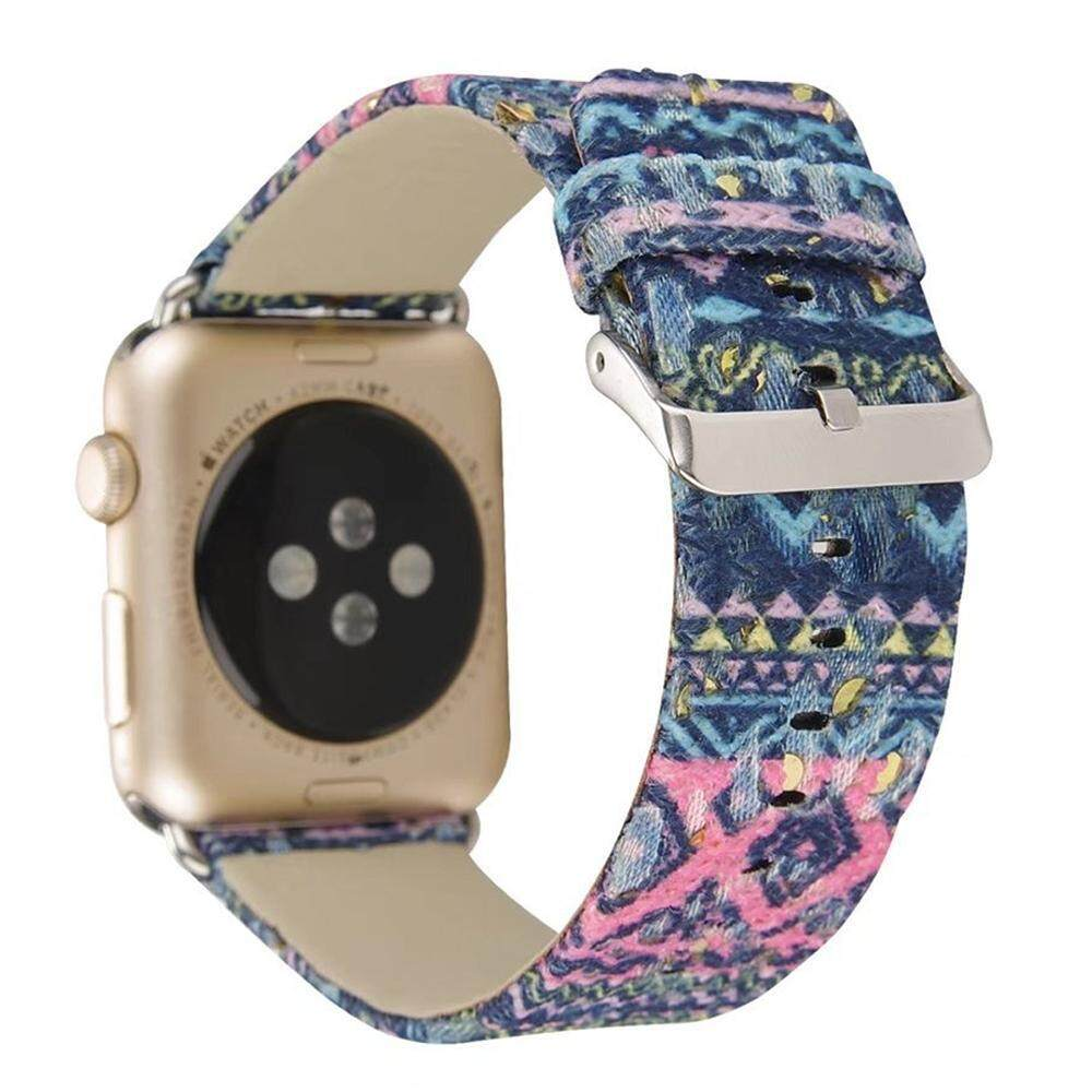 ZongHAX For Apple Watch Band, 38mm Fashion Exotic Style Silk Genuine Leather Strap Replacement Wristband