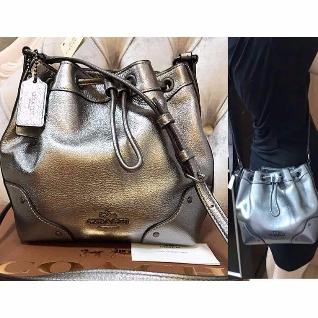 38dac3cb38 Authentic Baby Mickie Drawstring Shoulder Bag In Grain Leather (Coach  F35363)